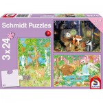 Schmidt-Spiele-56220 3 Jigsaw Puzzles - Animals of the Forest