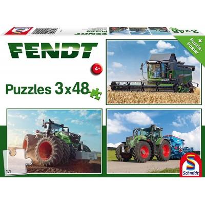 Puzzle Schmidt-Spiele-56221 Fendt 1050 Vario / 724 Vario / 6275L, 3x48 Pieces