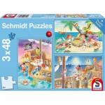 Schmidt-Spiele-56223 3 Jigsaw Puzzles - Pirates
