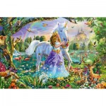 Puzzle  Schmidt-Spiele-56307 Princess with Unicorn and Castle