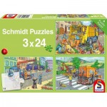 Puzzle  Schmidt-Spiele-56357 Rubbish truck, tow truck and sweeper (3x24 Pieces)