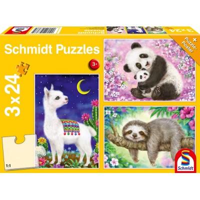 Puzzle Schmidt-Spiele-56368 Panda, Llama, Sloth, 3x24 Pieces