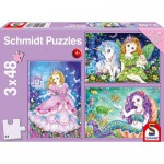 Puzzle  Schmidt-Spiele-56376 Princess, Fairy and Mermaid (3x48 Pieces)