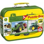 Schmidt-Spiele-56497 John Deere, Tractor, 4 Children's Puzzles in Metal Case, 2x60 and 2x100 Pieces