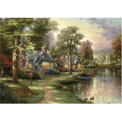 Schmidt-Spiele-57452 Jigsaw Puzzle - Thomas Kinkade: The House near the Lake