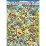 Puzzle  Schmidt-Spiele-58330 Illustrated Germany Map