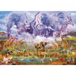 Puzzle  Schmidt-Spiele-58356 Animals at the Waterhole