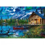 Puzzle  Schmidt-Spiele-58365 Mountain lake in the Moonlight