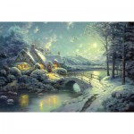 Schmidt-Spiele-58453 Jigsaw Puzzle - 500 Pieces - Thomas Kinkade : Moonlight on the Snow