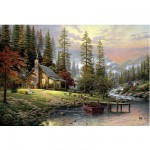 Schmidt-Spiele-58455 Jigsaw Puzzle - 500 Pieces - Thomas Kinkade : Cottage Lost in the Mountains
