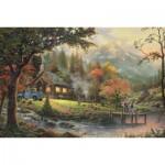 Puzzle  Schmidt-Spiele-58465 Thomas Kinkade: Idyll at riverside