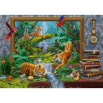 Puzzle  Schmidt-Spiele-59337 Jan Patrik Krasny, Coming to Life, Tiger in the Jungle