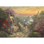 Puzzle  Schmidt-Spiele-59482 Thomas Kinkade - Hamlet at the lighthouse