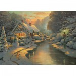 Puzzle  Schmidt-Spiele-59492 Thomas Kinkade - On Christmas Eve