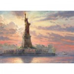 Puzzle  Schmidt-Spiele-59498 Thomas Kinkade - Statue of Liberty at Dusk