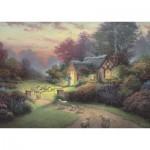 Puzzle  Schmidt-Spiele-59678 Thomas Kinkade, Spirit, Cottage of the Good Shepherd