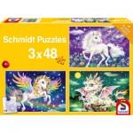 Puzzle   Fabulous Animals (3x48 Pieces)