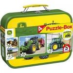 John Deere, Tractor, 4 Children's Puzzles in Metal Case, 2x60 and 2x100 Pieces