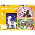 Puzzle   Panda, Llama, Sloth, 3x24 Pieces