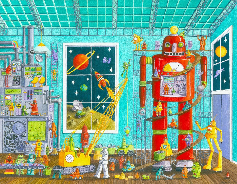 puzzle robot schmidt spiele 56159 60 pieces jigsaw puzzles comics jigsaw puzzle. Black Bedroom Furniture Sets. Home Design Ideas