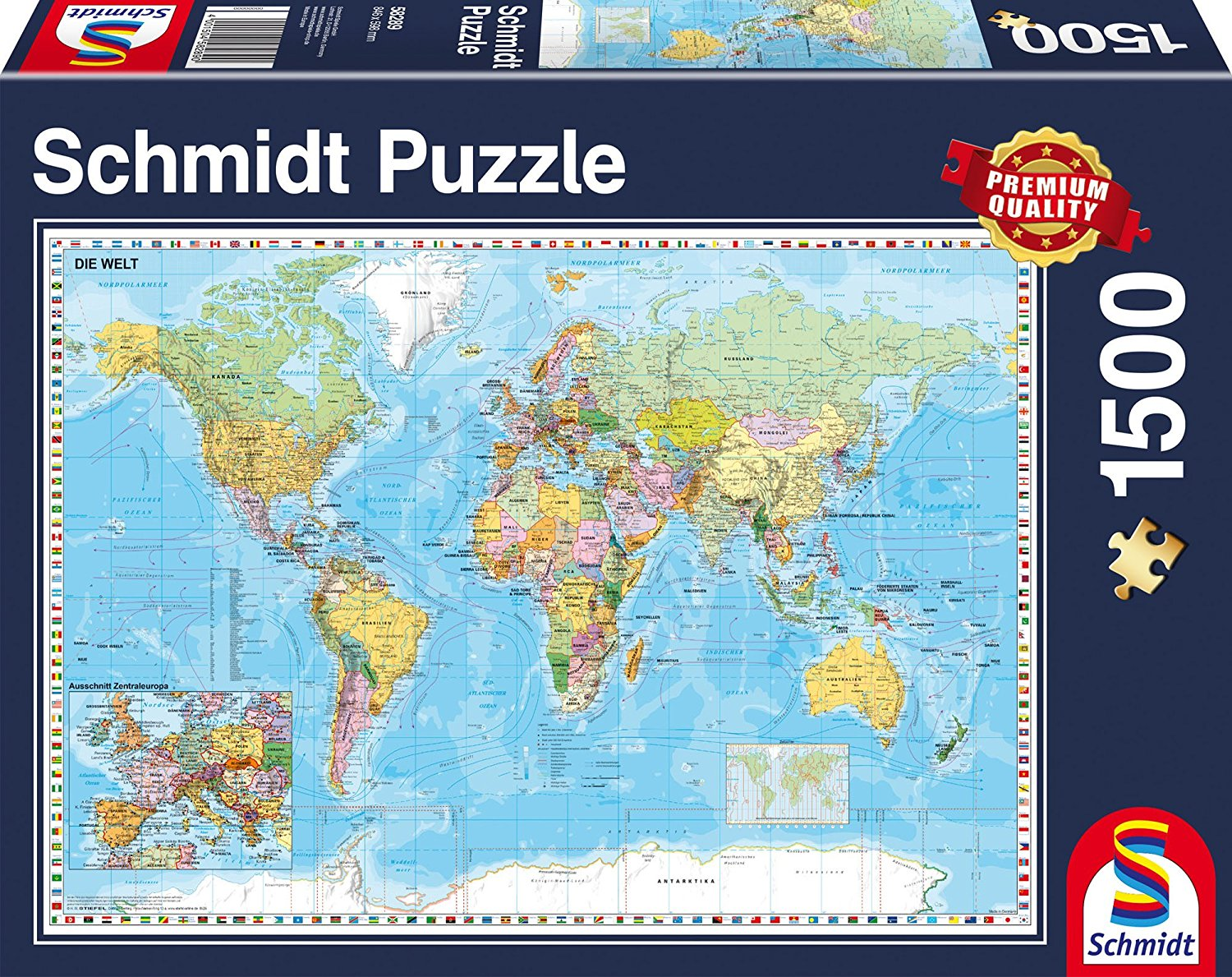 Map Of Uk 1500.Puzzle World Map In German Schmidt Spiele 58289 1500 Pieces Jigsaw