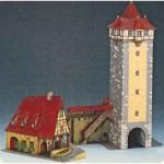 Puzzle  Schreiber-Bogen-72455 Cardboard Model: Old Gerlach Smithy + RÖDERTOR Rothenburg
