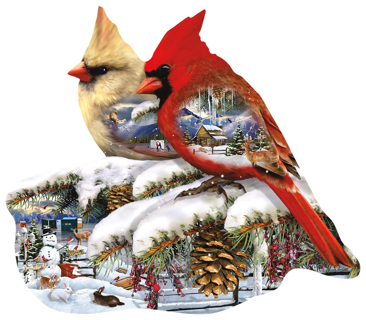 Lori Schory - Winter Cardinals 800 piece jigsaw puzzle
