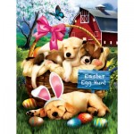 Puzzle  Sunsout-23012 XXL Pieces - Tom Wood - Sleepy Eyed Easter Egg Hunters
