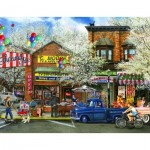 Puzzle  Sunsout-28678 Tom Wood - Afternoon on Mainstreet