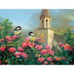 Puzzle  Sunsout-29090 XXL Pieces - Wedding Bell Chickadees