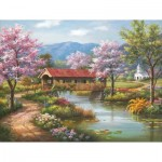 Puzzle  Sunsout-36604 XXL Pieces - Covered Bridge in Spring