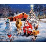 Puzzle  Sunsout-37996 XXL Pieces - Santa at the Farm