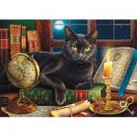 Puzzle  Sunsout-42906 XXL Pieces - Black Cat by Candlelight