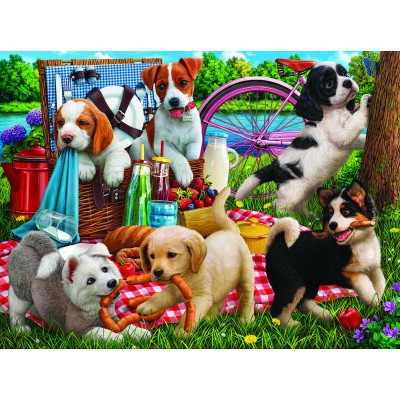 Puzzle Sunsout-42968 Puppies on a Picnic