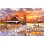 Puzzle  Sunsout-44223 Bill Makinson - Snow Barn
