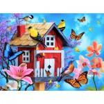 Puzzle  Sunsout-49044 Jerry Gadamus - Red Birdhouse