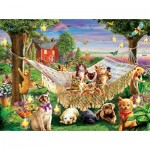 Puzzle  Sunsout-51830 XXL Pieces - Kittens Puppies and Butterflies