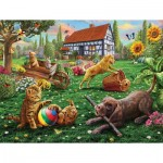 Puzzle  Sunsout-51836 XXL Pieces - Dogs and Cats at Play