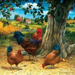 Puzzle  Sunsout-59724 XXL Pieces - Rooster and Hens