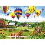 Puzzle  Sunsout-62967 XXL Pieces - Balloons over Fields