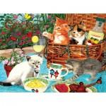 Puzzle  Sunsout-67246 Julie Bauknecht - Picnic Kittens