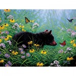 Puzzle  Sunsout-69601 XXL Pieces - Black Bear and Butterflies