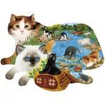 Puzzle  Sunsout-97220 Ashley Davis - Fishing Kittens