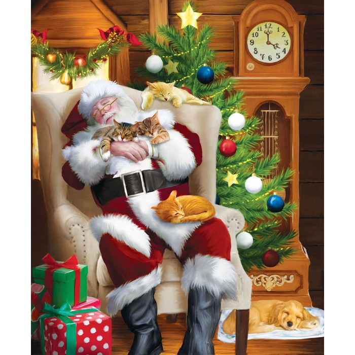 Tom Wood - Santa and His Cats Puzzle 1000	pieces
