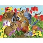 Puzzle   XXL Pieces - Bunnies and Birdhouses