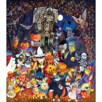 Puzzle   XXL Pieces - Cats and Dogs on Halloween
