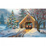 Puzzle   XXL Pieces - Covered Bridge at Christmas