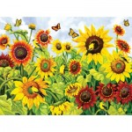 Puzzle   XXL Pieces - Sunflowers and Goldfinch