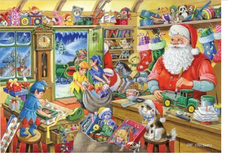 puzzle christmas collectors edition no 5 santa 39 s workshop the house of puzzles 1950 1000. Black Bedroom Furniture Sets. Home Design Ideas