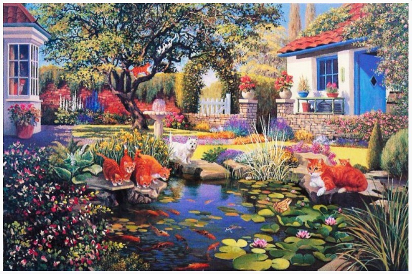 Puzzle garden pond the house of puzzles 1479 1000 pieces for Garden pool crossword